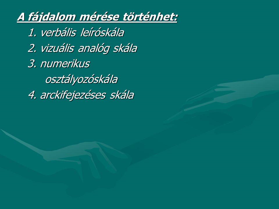 A fájdalom mérése történhet: 1. verbális leíróskála 2