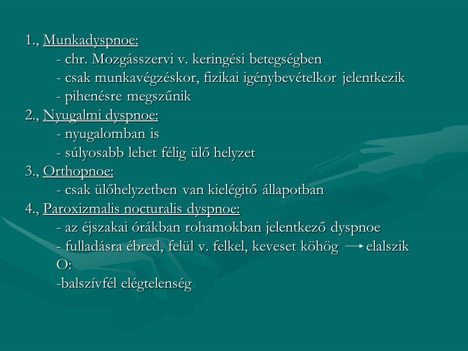 1., Munkadyspnoe: - chr. Mozgásszervi v. keringési betegségben. - csak munkavégzéskor, fizikai igénybevételkor jelentkezik.
