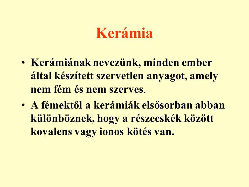 Kerámia Kerámiának nevezünk, minden ember által készített szervetlen anyagot, amely nem fém és nem szerves.