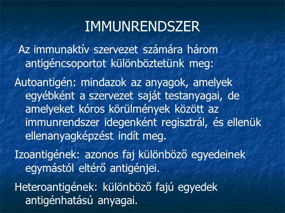 IMMUNRENDSZER Az immunaktív szervezet számára három antigéncsoportot különböztetünk meg: