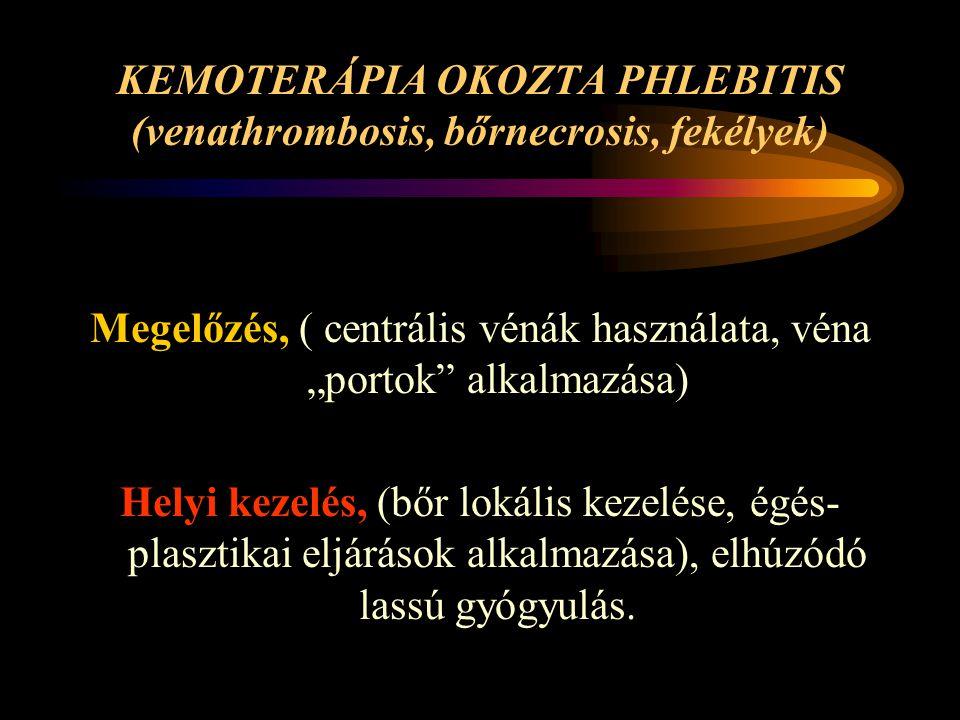 KEMOTERÁPIA OKOZTA PHLEBITIS (venathrombosis, bőrnecrosis, fekélyek)