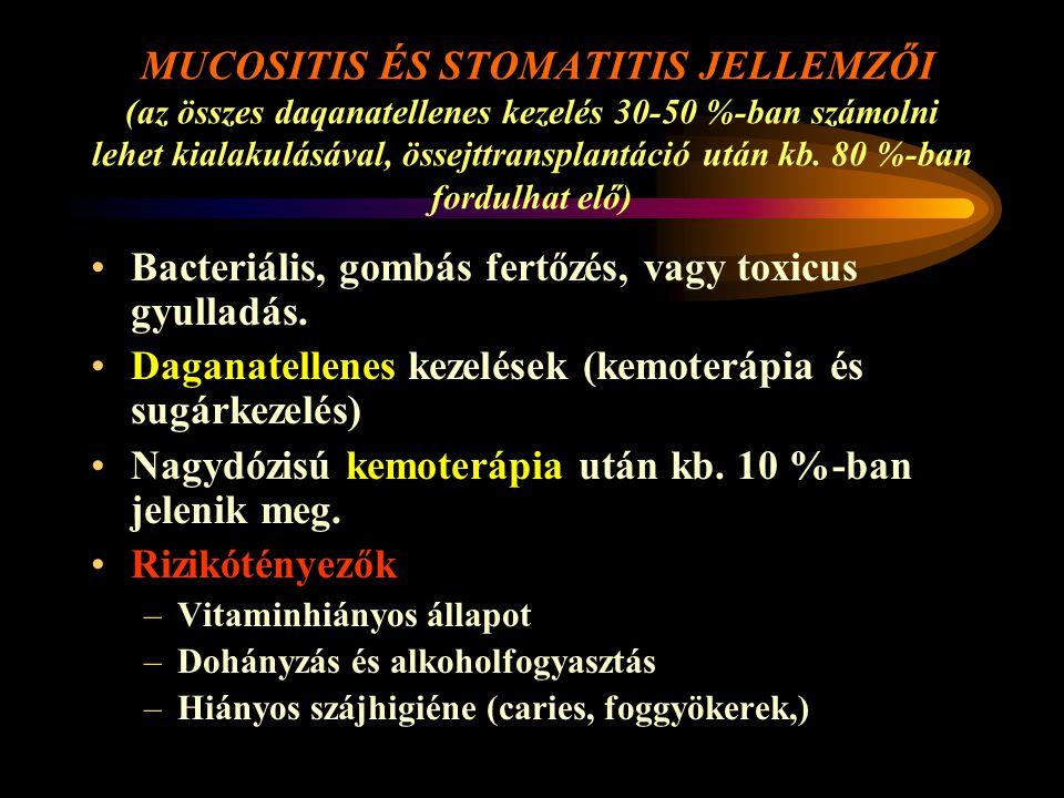 Bacteriális, gombás fertőzés, vagy toxicus gyulladás.