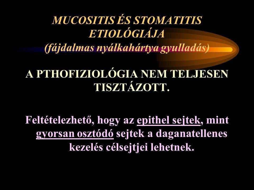 MUCOSITIS ÉS STOMATITIS ETIOLÓGIÁJA (fájdalmas nyálkahártya gyulladás)