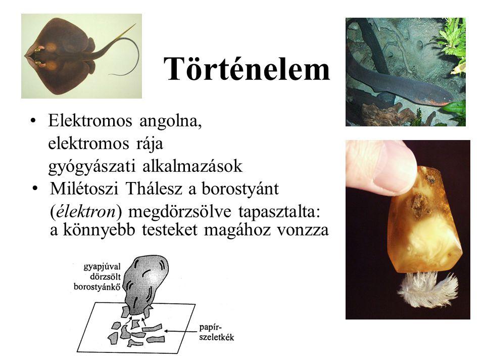 Történelem Elektromos angolna, elektromos rája gyógyászati alkalmazások. Milétoszi Thálesz a borostyánt.