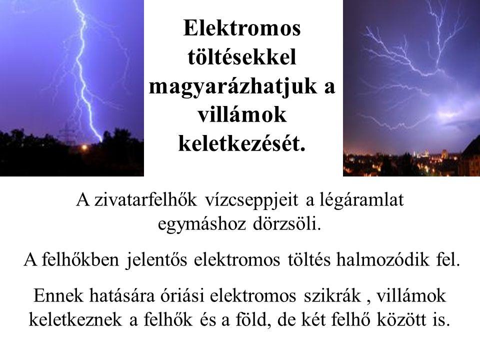 Elektromos töltésekkel magyarázhatjuk a villámok keletkezését.