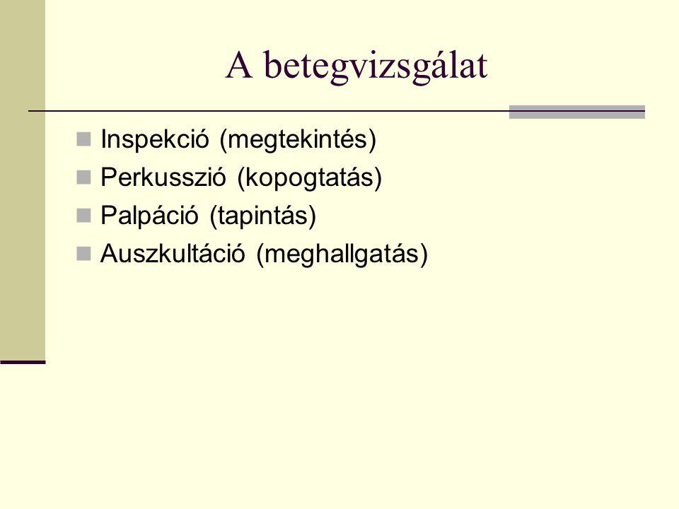 A betegvizsgálat Inspekció (megtekintés) Perkusszió (kopogtatás)