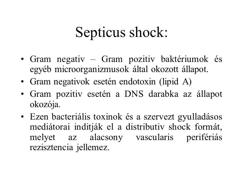 Septicus shock: Gram negativ – Gram pozitiv baktériumok és egyéb microorganizmusok által okozott állapot.