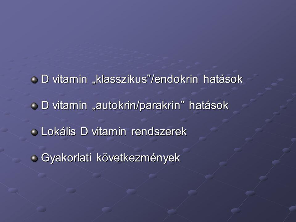 """D vitamin """"klasszikus /endokrin hatások"""