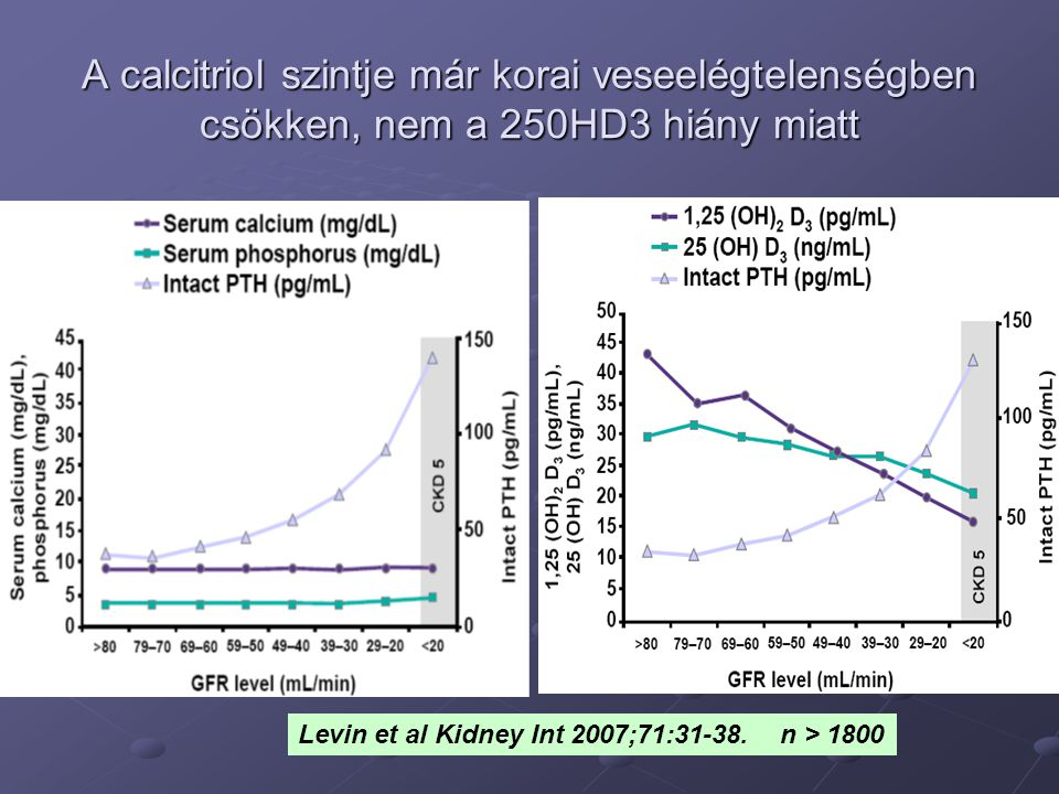 A calcitriol szintje már korai veseelégtelenségben csökken, nem a 250HD3 hiány miatt