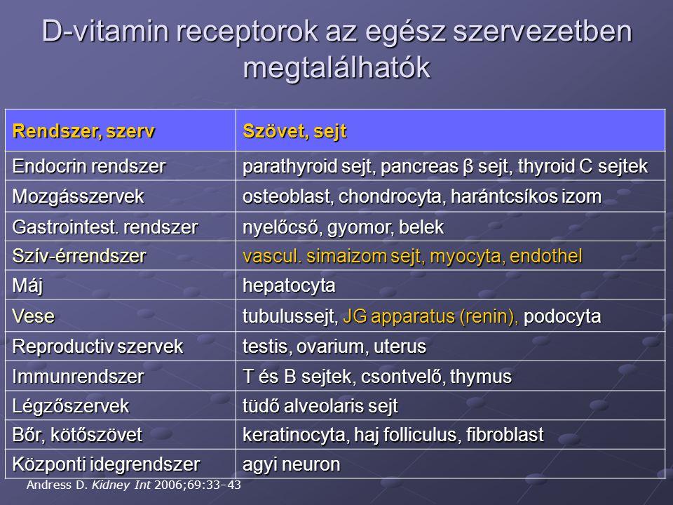 D-vitamin receptorok az egész szervezetben megtalálhatók