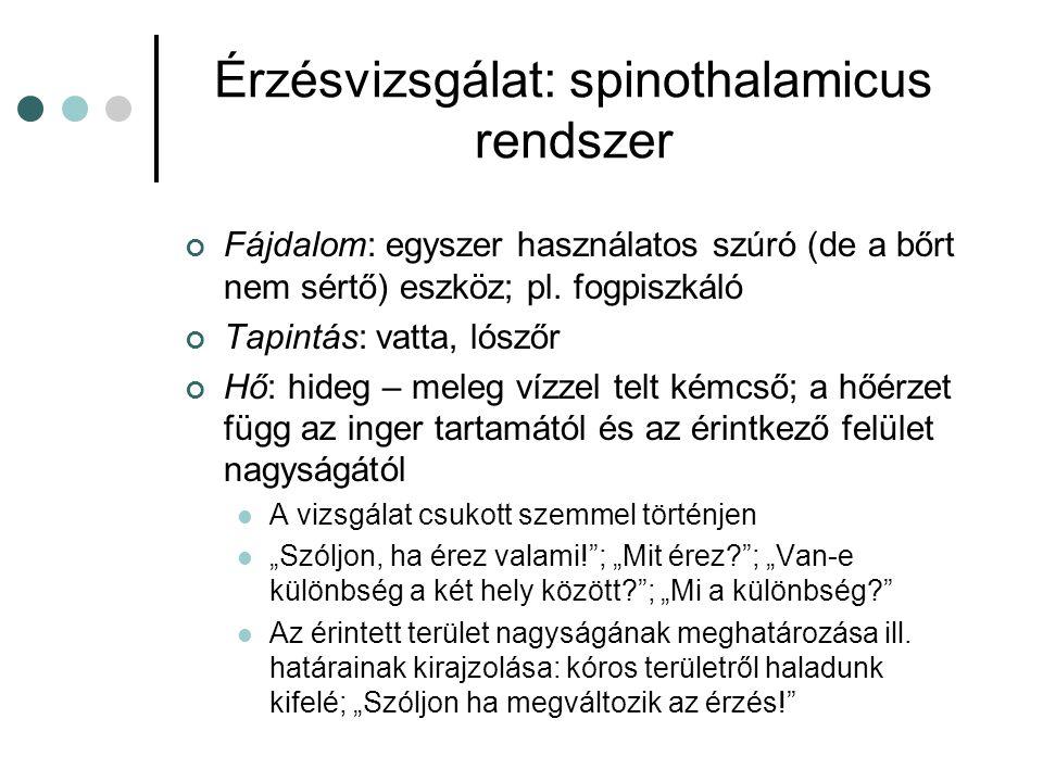 Érzésvizsgálat: spinothalamicus rendszer