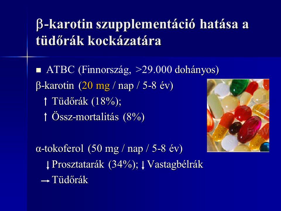 -karotin szupplementáció hatása a tüdőrák kockázatára
