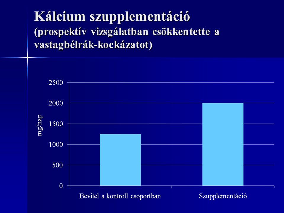 Kálcium szupplementáció (prospektív vizsgálatban csökkentette a vastagbélrák-kockázatot)