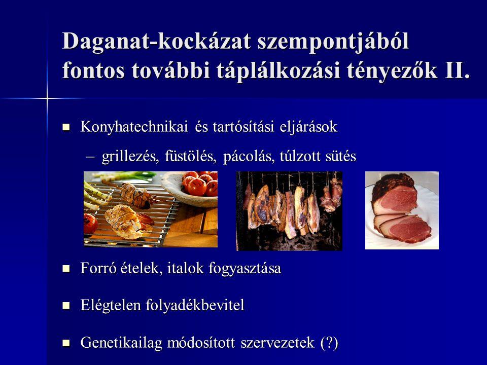Daganat-kockázat szempontjából fontos további táplálkozási tényezők II.