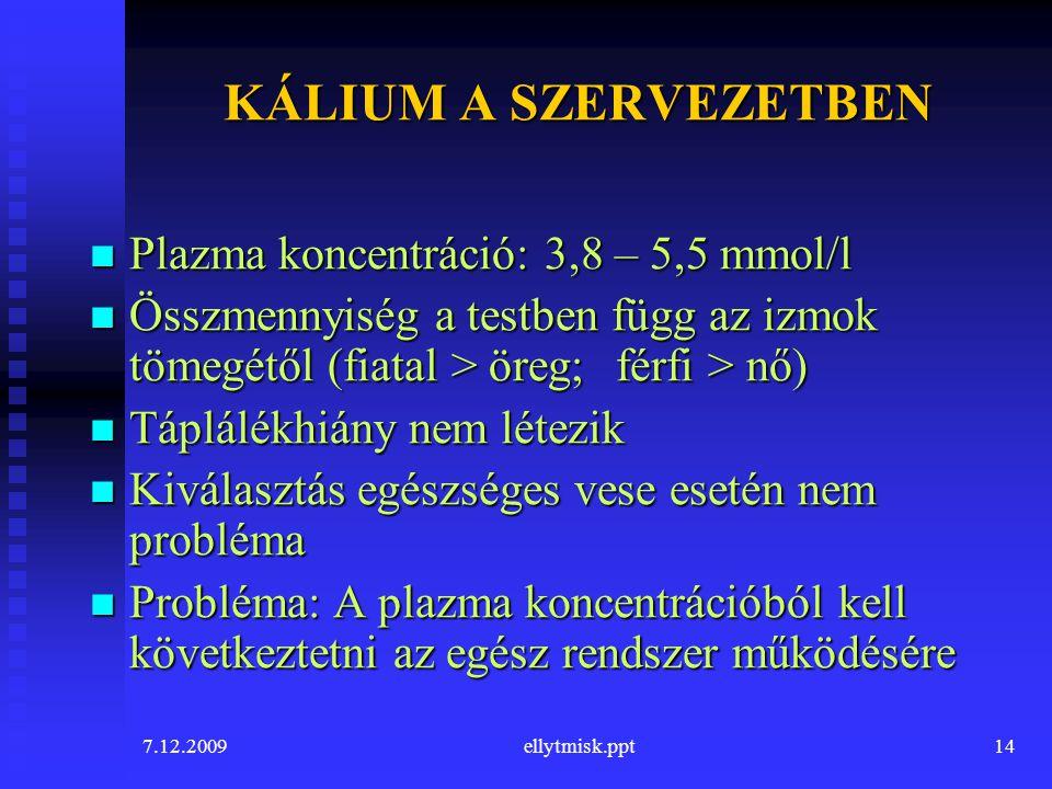 KÁLIUM A SZERVEZETBEN Plazma koncentráció: 3,8 – 5,5 mmol/l