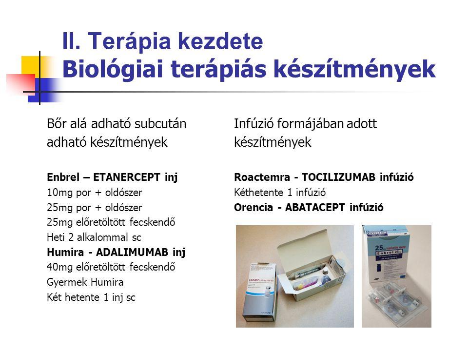 II. Terápia kezdete Biológiai terápiás készítmények