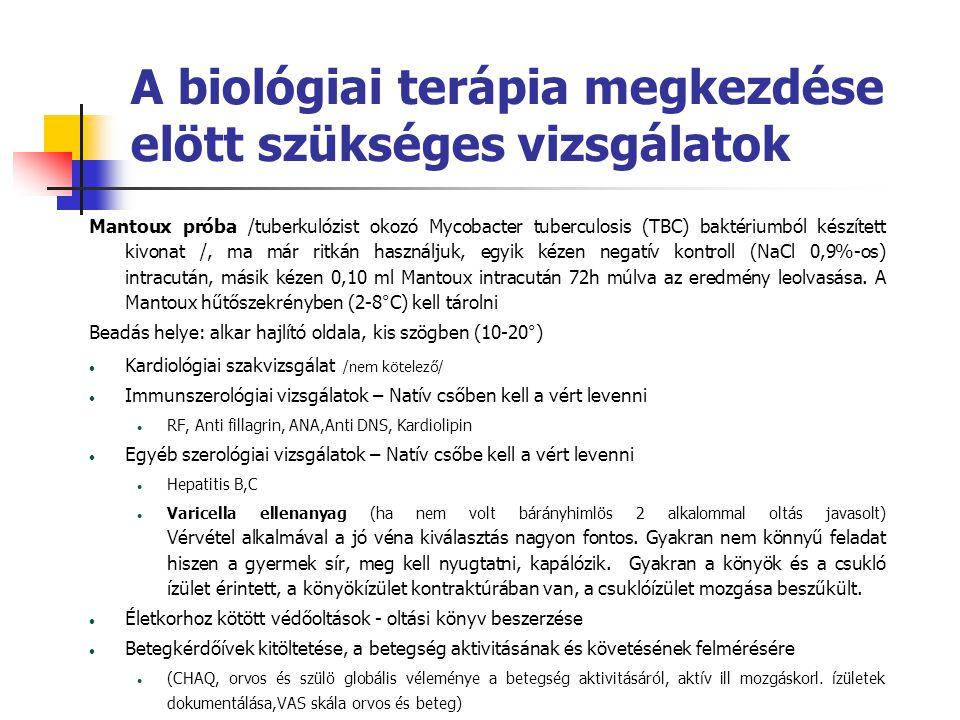 A biológiai terápia megkezdése elött szükséges vizsgálatok