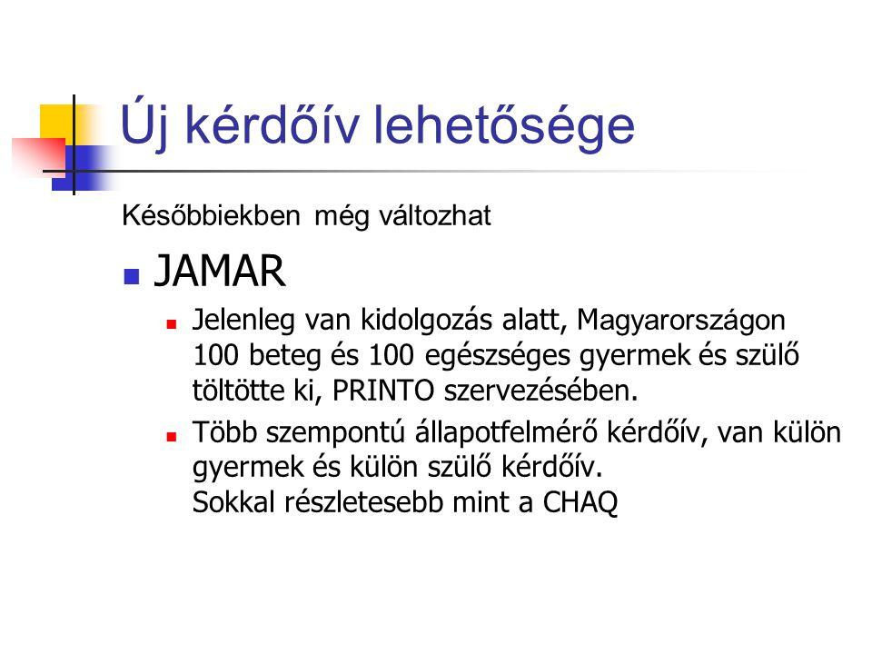 Új kérdőív lehetősége JAMAR Későbbiekben még változhat