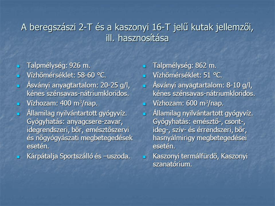 A beregszászi 2-T és a kaszonyi 16-T jelű kutak jellemzői, ill