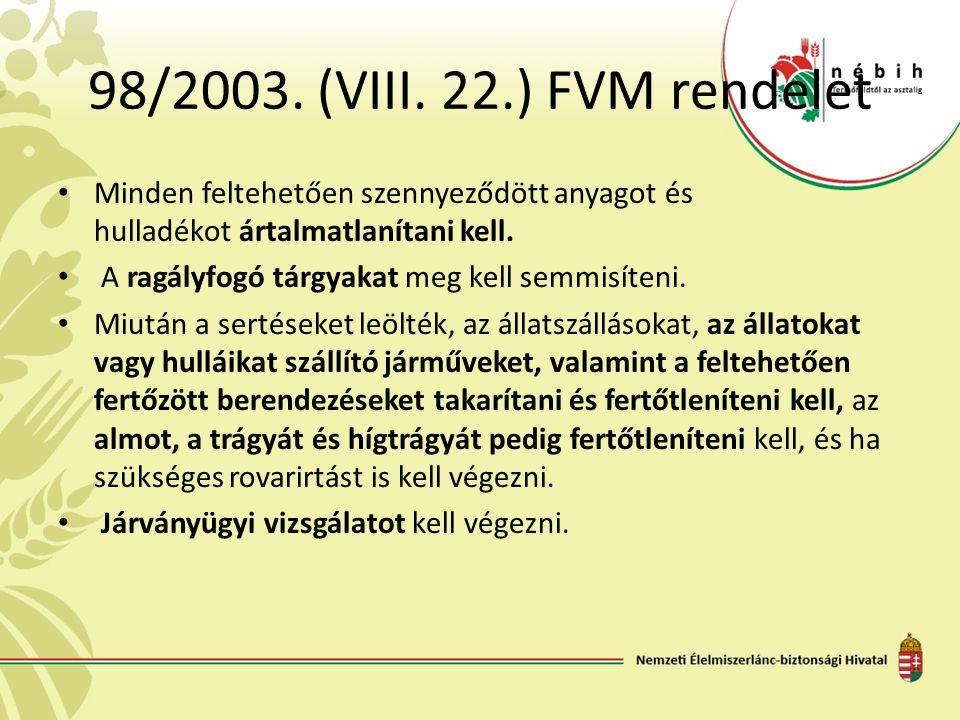 98/2003. (VIII. 22.) FVM rendelet Minden feltehetően szennyeződött anyagot és hulladékot ártalmatlanítani kell.