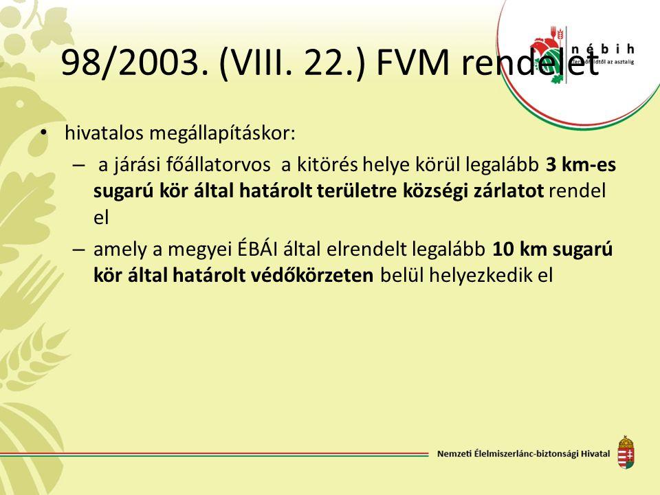 98/2003. (VIII. 22.) FVM rendelet hivatalos megállapításkor: