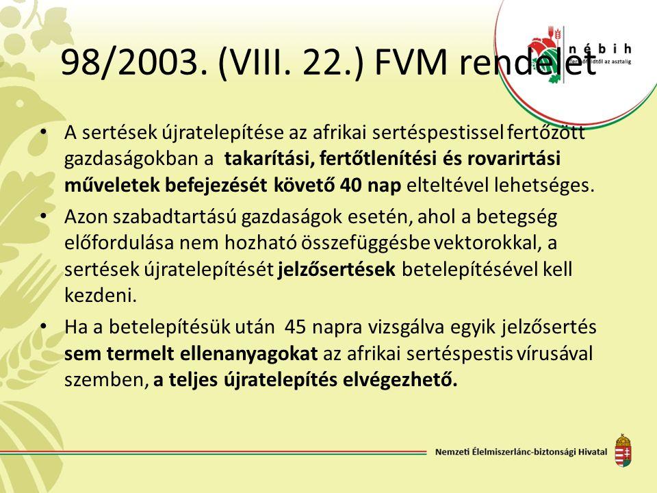 98/2003. (VIII. 22.) FVM rendelet