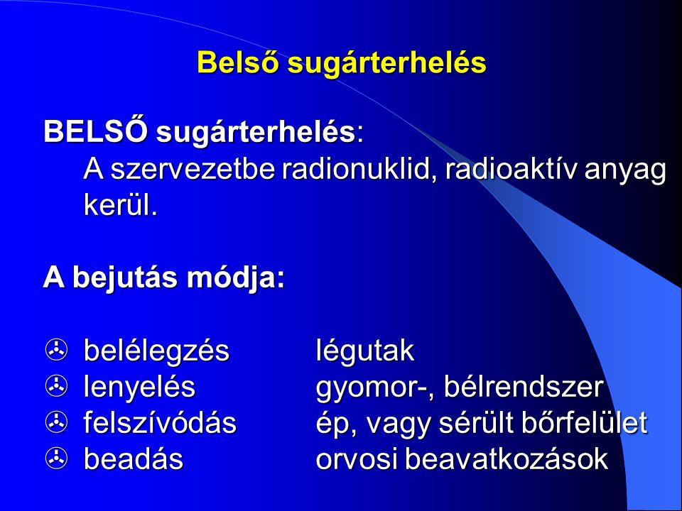 Belső sugárterhelés BELSŐ sugárterhelés: A szervezetbe radionuklid, radioaktív anyag kerül. A bejutás módja: