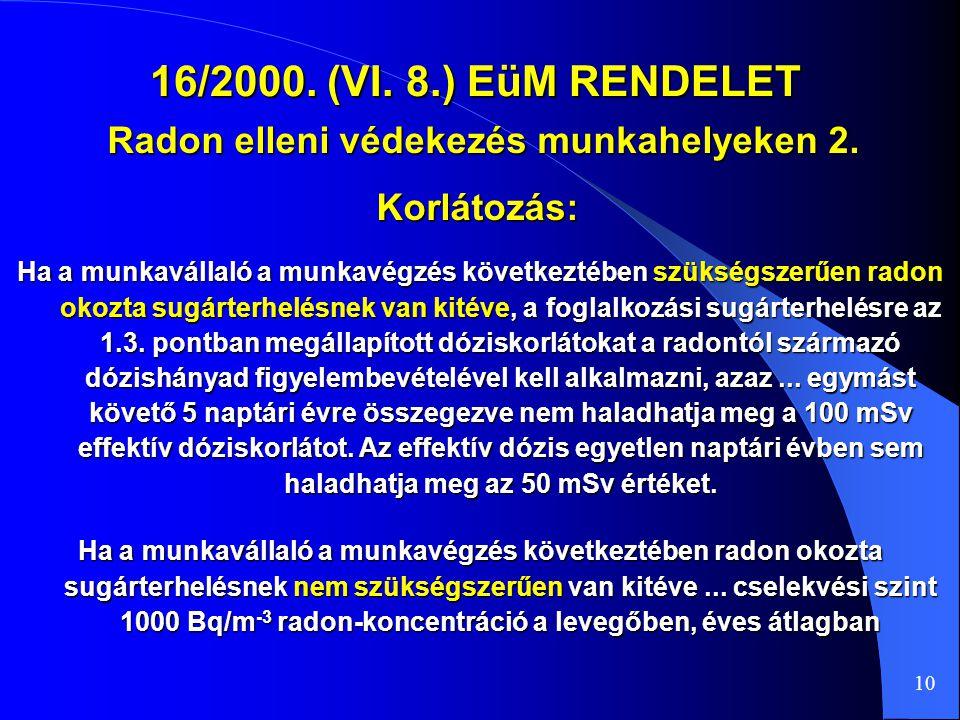 Radon elleni védekezés munkahelyeken 2.