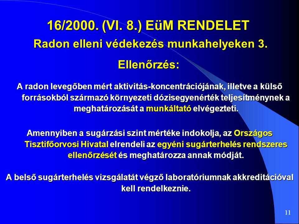 Radon elleni védekezés munkahelyeken 3.