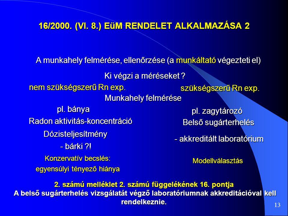 16/2000. (VI. 8.) EüM RENDELET ALKALMAZÁSA 2