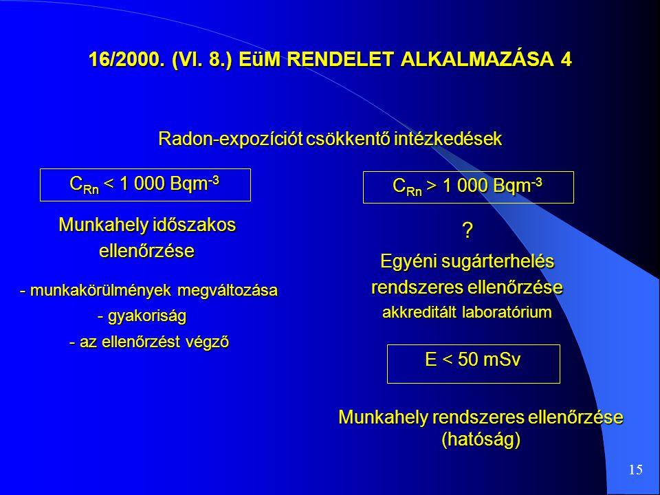 16/2000. (VI. 8.) EüM RENDELET ALKALMAZÁSA 4