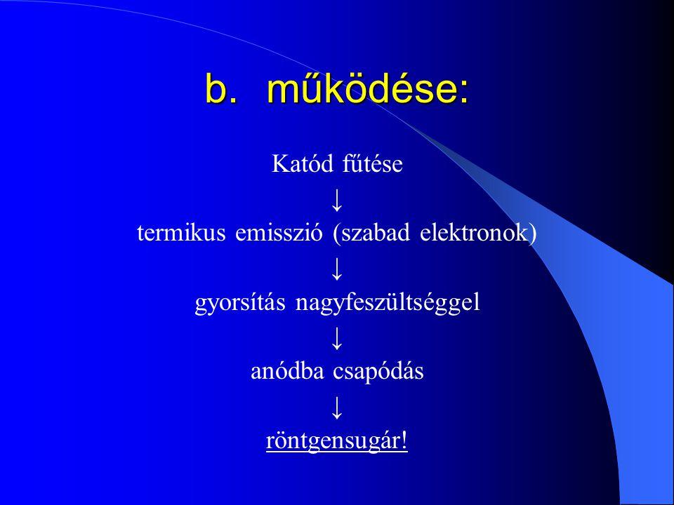 b. működése: Katód fűtése ↓ termikus emisszió (szabad elektronok)