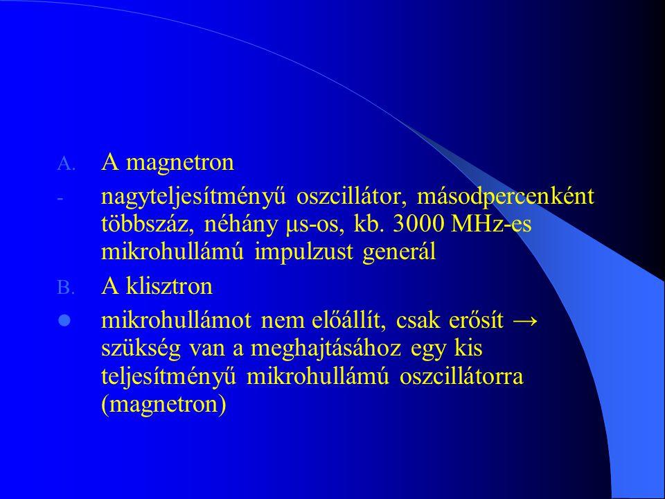 A magnetron nagyteljesítményű oszcillátor, másodpercenként többszáz, néhány μs-os, kb. 3000 MHz-es mikrohullámú impulzust generál.