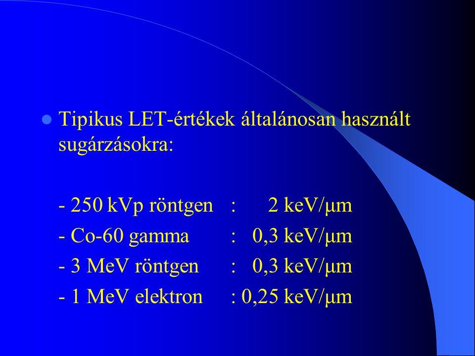 Tipikus LET-értékek általánosan használt sugárzásokra: