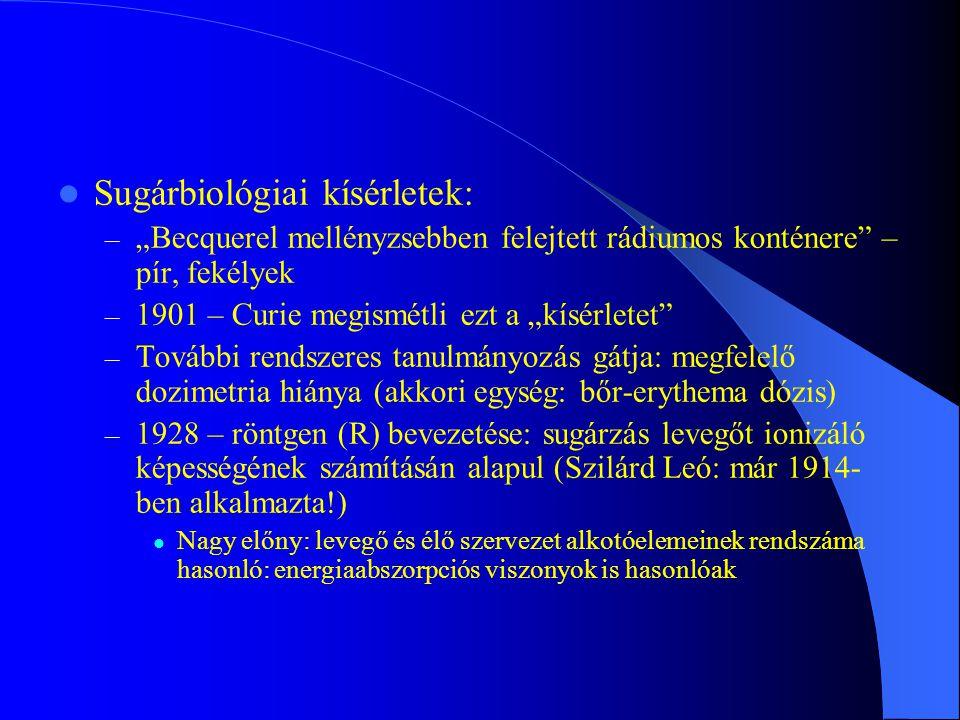 Sugárbiológiai kísérletek: