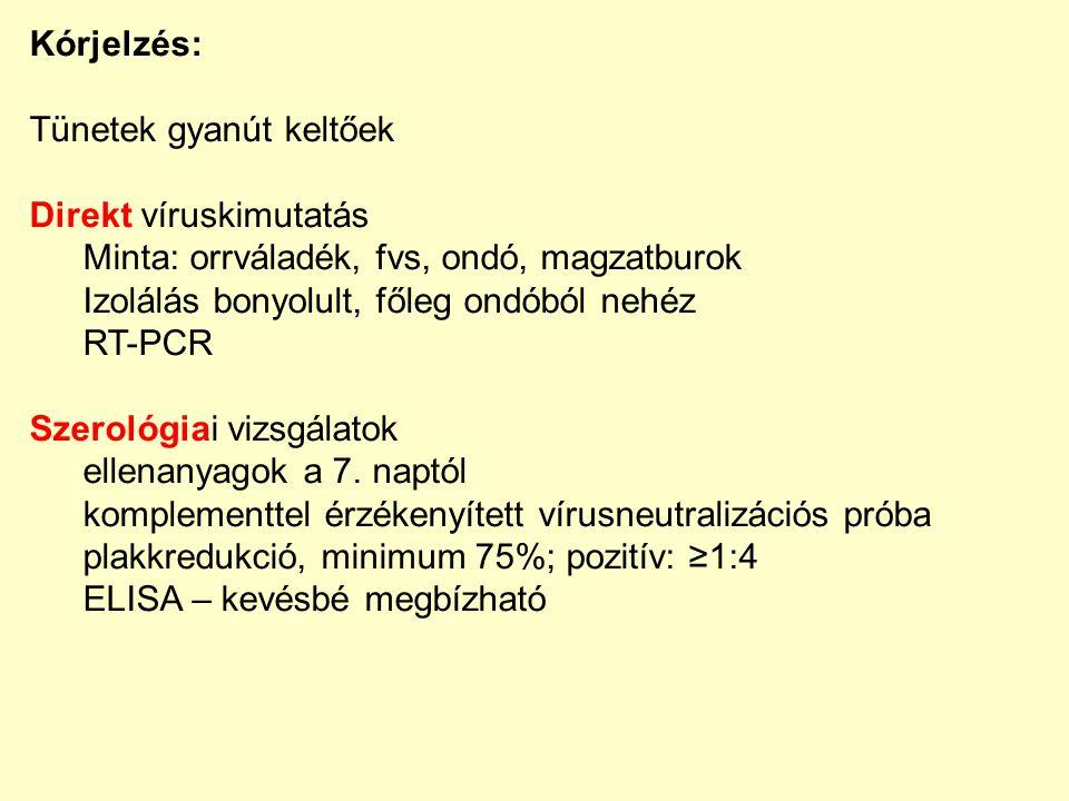 Kórjelzés: Tünetek gyanút keltőek. Direkt víruskimutatás. Minta: orrváladék, fvs, ondó, magzatburok.