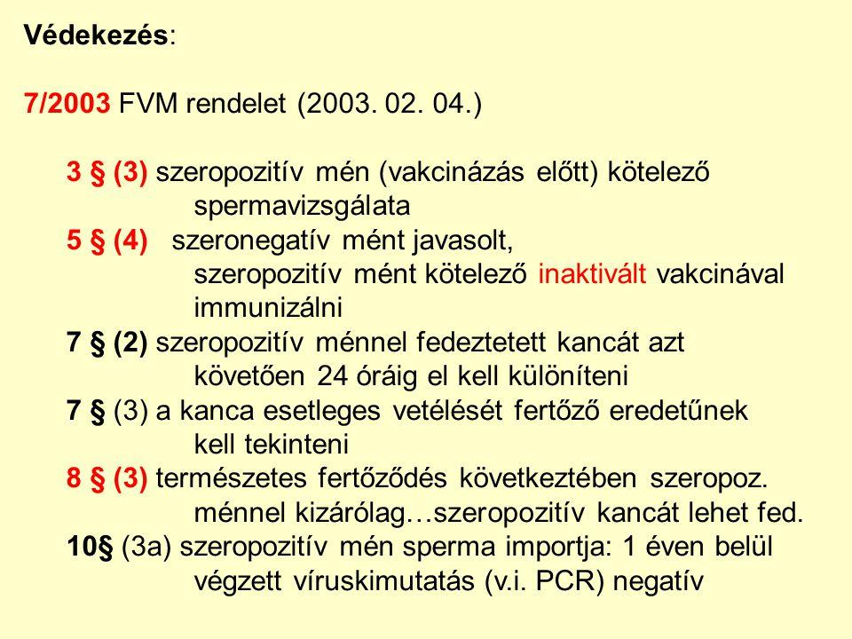 Védekezés: 7/2003 FVM rendelet (2003. 02. 04.) 3 § (3) szeropozitív mén (vakcinázás előtt) kötelező.
