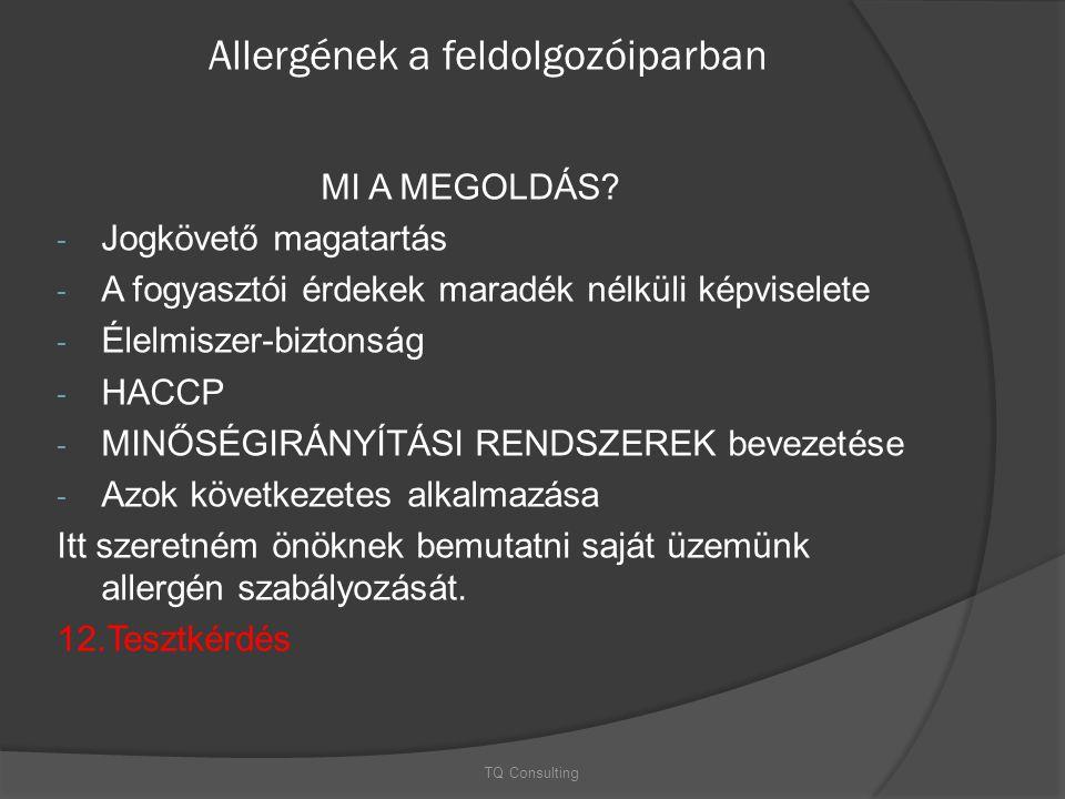 Allergének a feldolgozóiparban