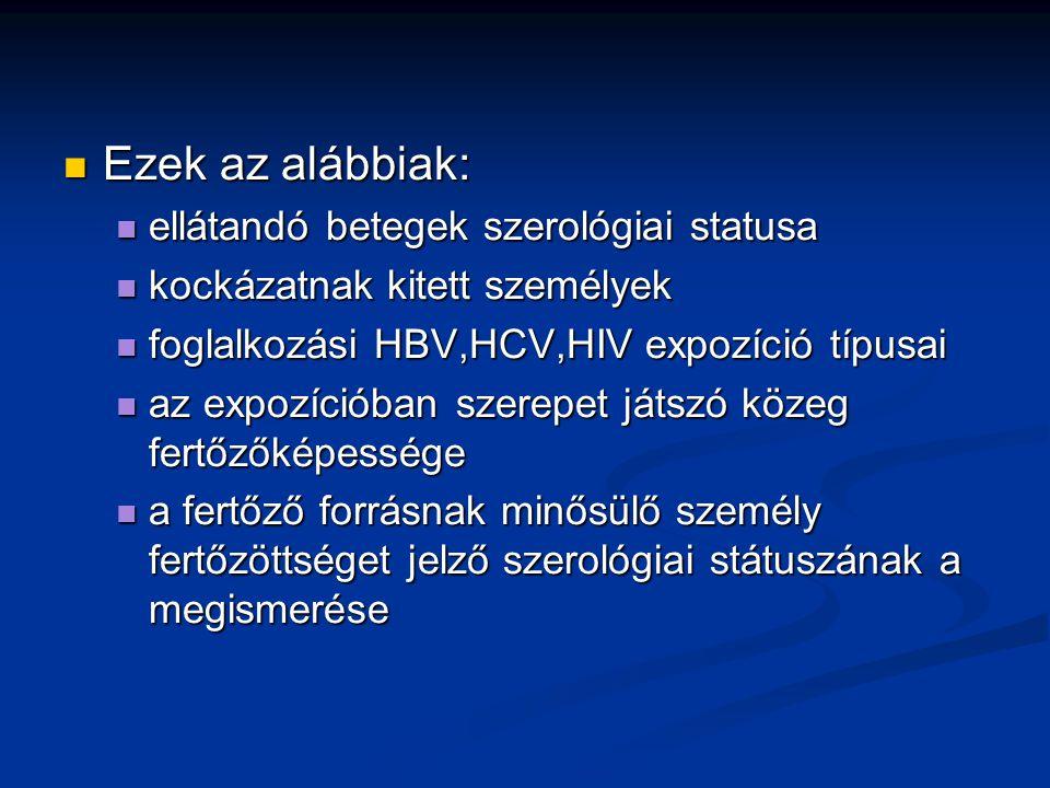 Ezek az alábbiak: ellátandó betegek szerológiai statusa