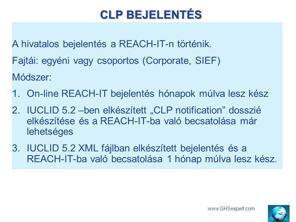 CLP BEJELENTÉS A hivatalos bejelentés a REACH-IT-n történik.