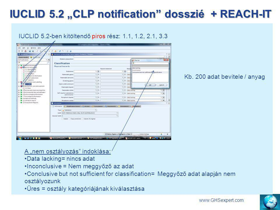 "IUCLID 5.2 ""CLP notification dosszié + REACH-IT"
