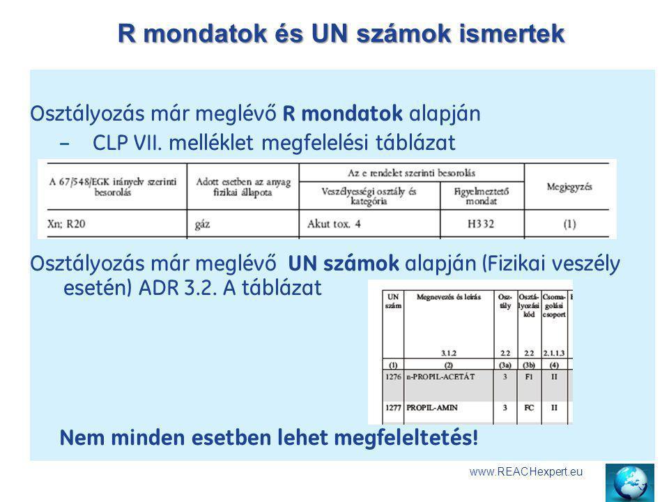 R mondatok és UN számok ismertek