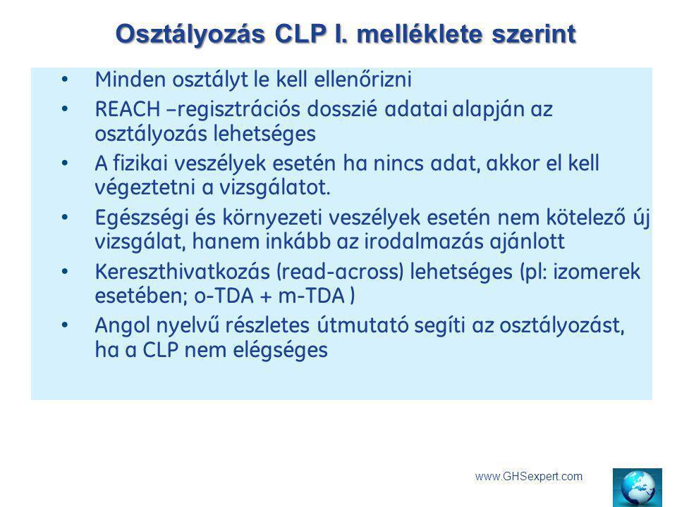 Osztályozás CLP I. melléklete szerint