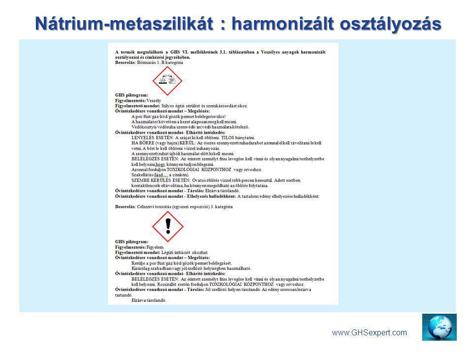Nátrium-metaszilikát : harmonizált osztályozás