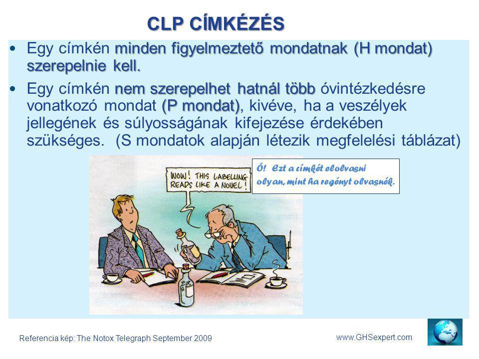 CLP CÍMKÉZÉS Egy címkén minden figyelmeztető mondatnak (H mondat) szerepelnie kell.