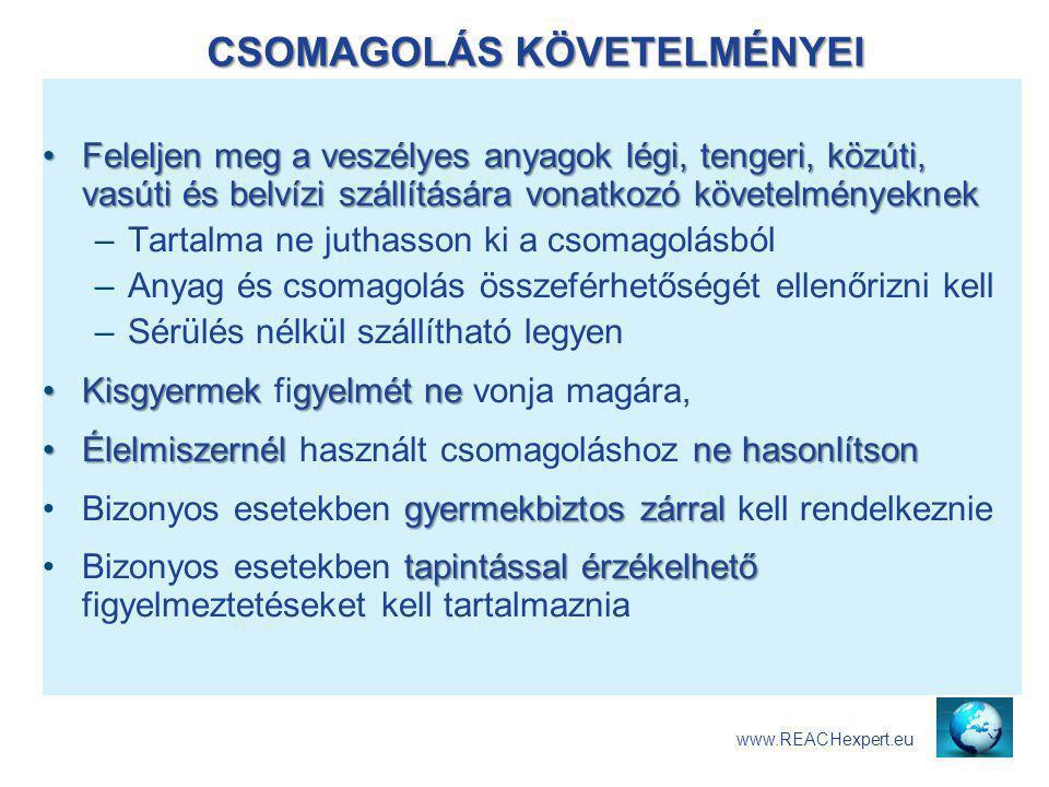 CSOMAGOLÁS KÖVETELMÉNYEI