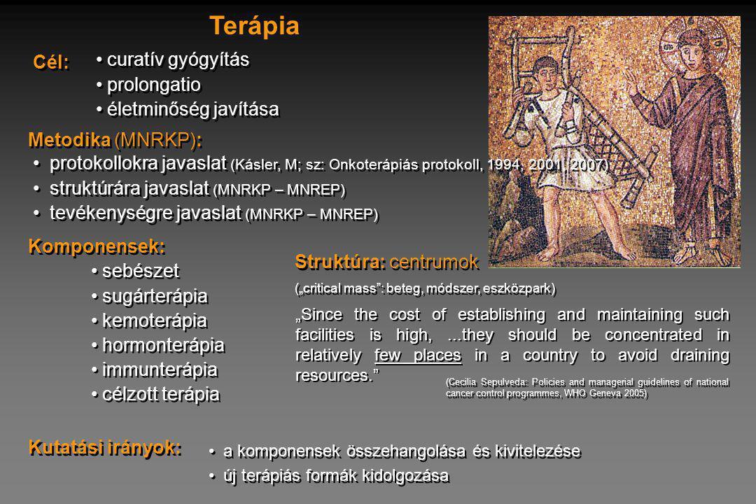 Terápia Cél: curatív gyógyítás prolongatio életminőség javítása