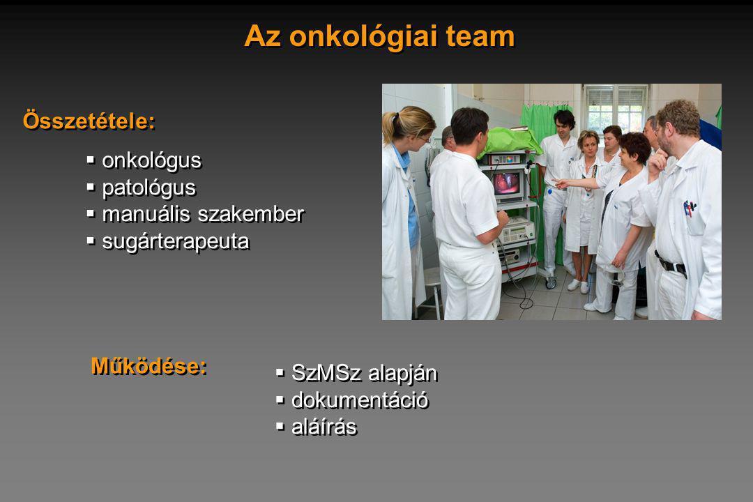 Az onkológiai team Összetétele: onkológus patológus manuális szakember