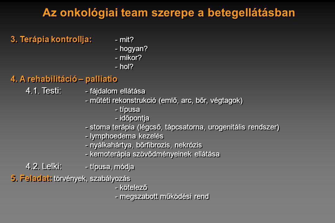 Az onkológiai team szerepe a betegellátásban