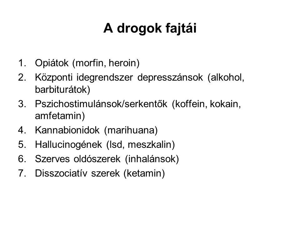 A drogok fajtái Opiátok (morfin, heroin)